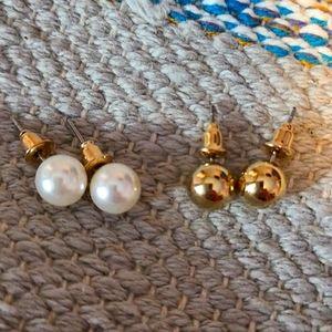 Bundle of Earrings Pearl & Gold Ball Stud New